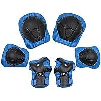 3 in 1 Kit protezione ginocchiere bambini(4-10 anni)con 2x gomitiere,2x polsiere e 2x ginocchiere protettive per Skateboard, Monopattino, Bicicletta, Pattinaggio in linea en Blu