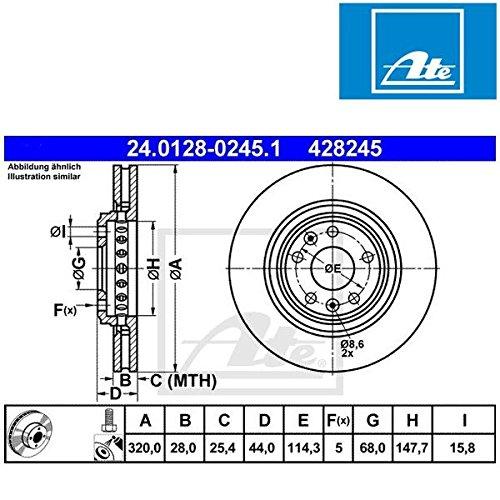 Preisvergleich Produktbild ATE 24.0128-0245.1 Bremsscheibe - (Paar)