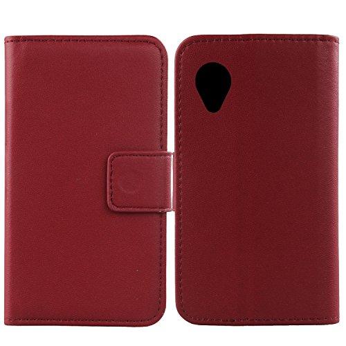 Gukas Design Echt Leder Tasche Für LG Google Nexus 5 D820 E980 Hülle Handy Flip Brieftasche mit Kartenfächer Schutz Protektiv Genuine Premium Case Cover Etui Skin (Dark Rot)