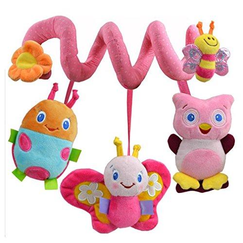 Thebigthumb giocattolo da neonato e bambino, in peluche, a spirale, da appendere su letto o passeggino, con sonaglio, unisex, pink butterfly