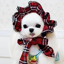 QFFL Rejilla del paño Cubra el sol Sombrero del animal doméstico Adornos del pelo Gato Transfiguración perrito Gorra de béisbol Ropa para mascotas ( Color : Rojo , Size : S (pet within 6 pounds) )