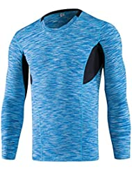 Greatlizard Hommes Compression Chemise Couche Serre Fitness Manches Longues Thermique Peau T-shirt