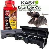 Rattengift-Set Protect Home Rodicum Ratten Portionsköder 500g 27ppm Rattenköder und 2 KAS Köderstationen Köderboxen