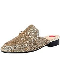 Artfaerie Damen Geschlossene Slingback Pantoletten Slipper mit Spitze und Metall Flach Bequem Mules Outdoor Schuhe