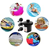 Zagmagat AC Portable Mini Electric Air Pump Inflator Deflate With 3 Universal Nozzle Adaptors 100-240 Volt Max. Air Flow 250L Min For Air Bed Boat Raft Mattress