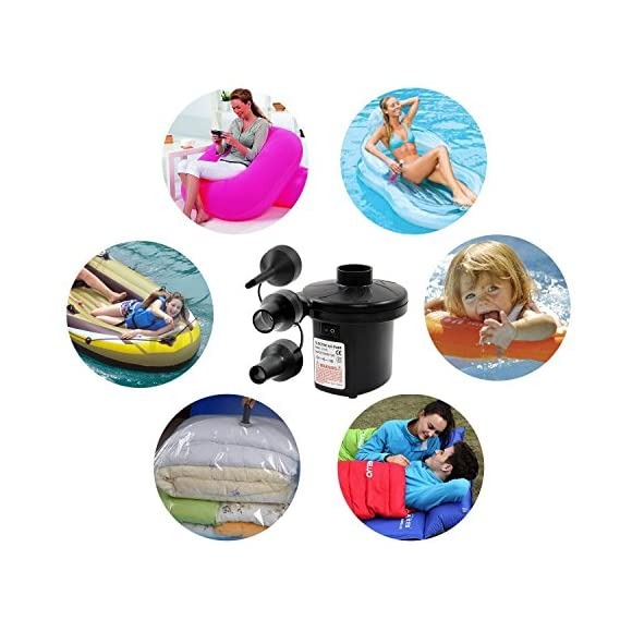 Zagmagat AC Portable Mini Electric Air Pump Inflator Deflate with 3 Universal Nozzle Adaptors 100-240 Volt Max. Air Flow 250L min for Air Bed Boat Raft Mattress