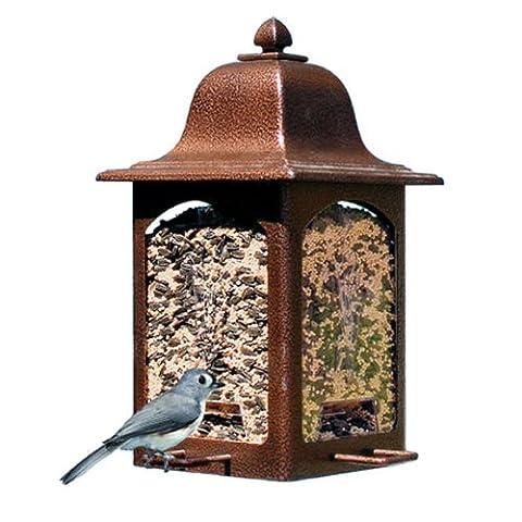 """norax Vogelhaus Futterstation """"Laterne im Tulpendesign"""" aus Metall für Vögel inkl. 1 kg Vogelfutter"""