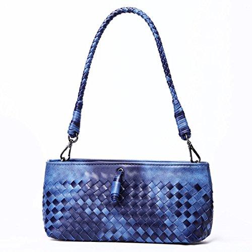 WU Zhi Dame Handmade Weaving Einfache Handtaschen Handtaschen Schulter Messenger Bag Handtasche Blue