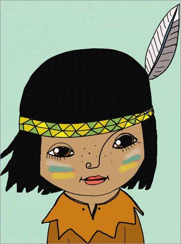 Leinwandbild 30 x 40 cm: Indianerjunge Winnetou von Little Miss Arty - fertiges Wandbild, Bild auf...
