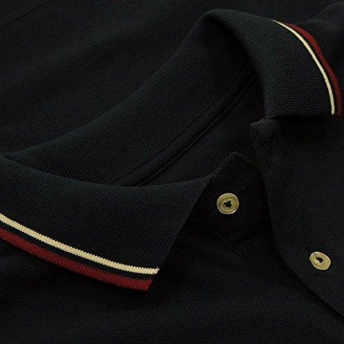 Trojan Records Marineblau Flag-hülse 100% Baumwolle Pique Polo Navy
