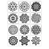XM-Amigo 12-teiliges Set wiederverwendbare Blumen-Muster-Vorlagen, Mandala-Blumen-Muster-Vorlage, Datura-Muster-Vorlage, DIY Malerei Kunstprojekte (15,2 x 15,2 cm)