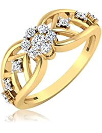 IskiUski The Eligina Diamond Ring 18Kt Swarovski Crystal Yellow Gold Ring Yellow Gold Plated For Women