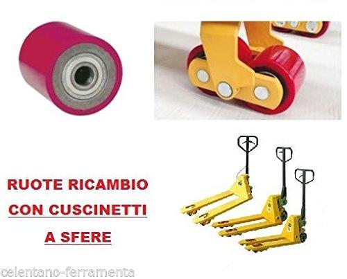 Ruota Rullo Con Cuscinetti Foro 20 mm Diametro 80 mm Per Transpallets Transpallet (80x100 mm)