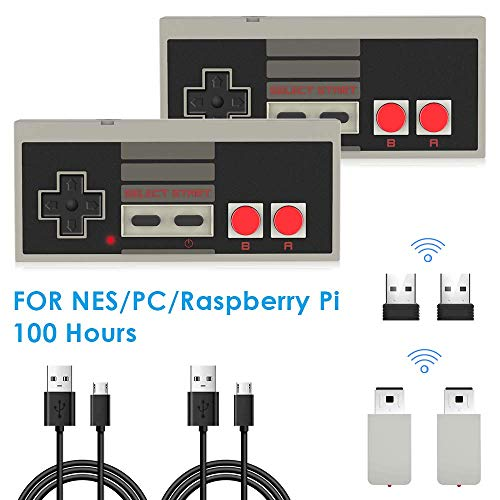 2 Stücke NES Wireless Controller für Nintendo Classic Mini, AGPTEK 2.4G Wireless Game Controller für NES und PC für NES Classic Gaming System Console, kompatibal mit Nintendo Entertainment System (Mini-pc-controller)