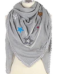 caripe XXL Damen Schal Halstuch groß quadratisch Patches Stern Schmetterling Glitzer Fransen - PS-patches