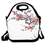 VTXWL Plum Blossom On White Background Traditional Chinese Painting Lunch Tote Lunch Bag School Reusable