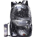 GIM Unisex Galaxy School Backpack Canvas Rucksack Laptop Book Bag Satchel Hiking Bag (Galaxy Black)