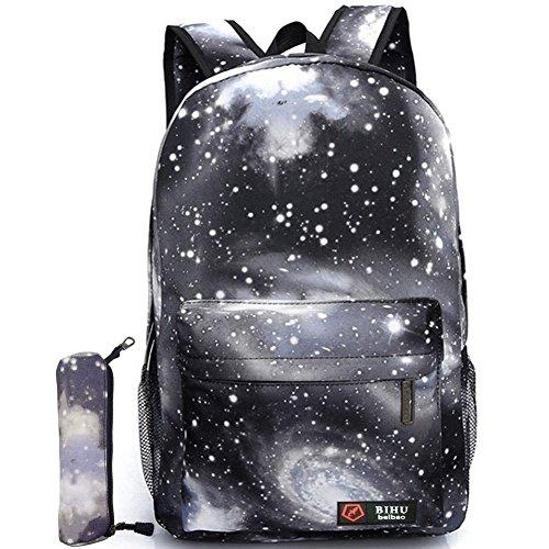 Gim unisex Galaxy scuola zaino tela zaino di libro Satchel bag escursionismo, Galaxy Black