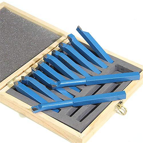 WXH 11 STÜCKE Hartmetall-Fräsersatz, geschweißtes Außendrehwerkzeug, 8 × 8 mm Wolframstahlmaterial, zum Drehen, Bohren und Anfasen von Metalldrehmaschinen