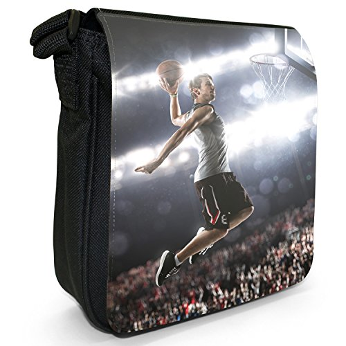 Basketball-superstar (Superstar springt zu Basketball-Korb Kleine Schultertasche aus schwarzem Canvas)