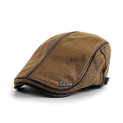 Boina Caliente de Punto para Hombre de otoño e Invierno de Punto de Mediana Edad Boina cálida,Amarillo,Los 56-60cm