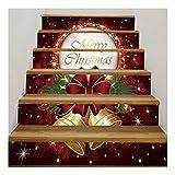 SERFGTFH 3D-PVC Weihnachten Wand Sticker Schneemann Kamin Selbstklebende Sticker Weihnachten Treppe Home Decor Wall Sticker