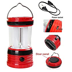 Portable Outdoor Camping Solar AC Battery Powered Rechargeable LED Lamp Handle Light with USB