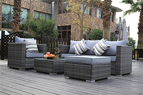 Yakoe Rattan 5-Seater Garden Furniture Sofa Table Chairs Set with Fitting Furniture Cover – Grey Weave