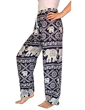 Banjamath hippy con texto harén Smocked Women's Yoga cintura diseño floral con diseño de flores para coser pantalones...