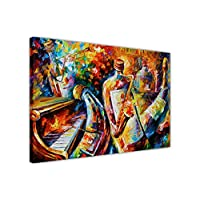 "NEW ABSTRACT BOTTLE JAZZ MUSICIANS BY LEONID AFREMOV ON FRAMED CANVAS PRINT MODERN WALL ART PICTURES SIZE: 30"" X 20"" (76CM X 50CM)"