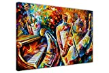 Canvas It Up New astratto bottiglia Jazz musicisti di Leonid Afremov su tela incorniciata Modern Wall Art foto formato: A2 – 61 x 40,6 cm (60 cm x 40 cm)