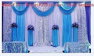 Lb Hochzeit Stage Dekorationen Hintergrund Party Drapes Mit Swag Seide Stoff Vorhang Blau 20x10ft Küche Haushalt