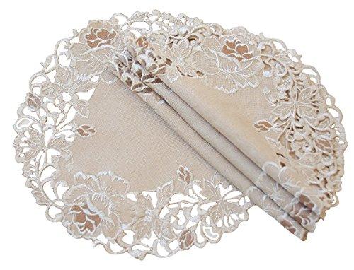 Xia Home Fashions Scrollen Rose Bestickt Cutwork Blumenmuster Deckchen, Taupe, 12-Inch Round