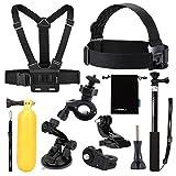 Luxebell 9 en 1 Kit de Accesorios Deportivos para Sony Action Cam HDR-AS15/AS20/AS30V/AS100V/AS200V/Sony Action Cam HDR-AZ1 Mini Sony FDR-X1000V/W 4K Cámara
