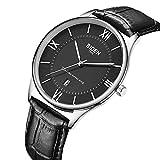 Uhren, Herren Uhren, Business Mode Stil wasserdichte analoge Quarzuhr Lässiges Schwarz Lederarmband mit Kalender Datum Armbanduhr