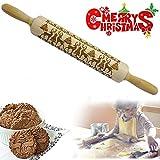 KAISHANE Weihnachts-Präge-Rollnadeln 35 cm Holzprägung graviert Rentiermuster Plätzchen Roller für Fondant Kuchen Teig Keks Backen Küchenwerkzeug