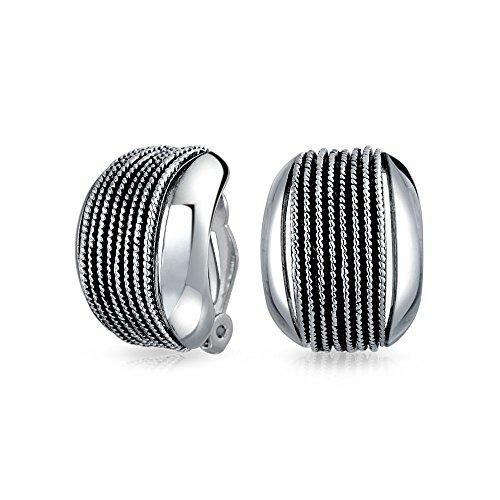 Verdrillte Kabel Kette Seil Breite Hälfte Hoop Creolen Ohrclips Ohrringe Für Damen Splitter Aus Messing