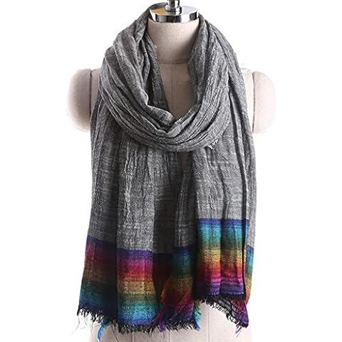 XY-Primavera y otoño dama arco iris retro rayas borla bufanda del mantón de algodón , 135-175cm