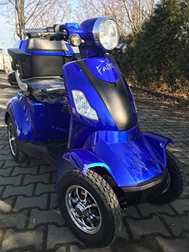 Lunex Elektromobil Faster Seniorenmobil E-Roller 1000W 25km/h USB, LED, Koffer, 4 Rad E- Scooter mit Straßenzulassung Elektro Roller BLAU