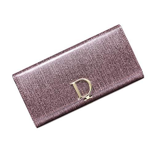 TTW Brieftasche Neue Leder Damen Brieftasche weiblichen Langen Abschnitt Leder Europa und Amerika Multifunktions Brieftasche Damen Handtasche Wrapper (Color : Purple, Size : 19 * 3 * 10CM)