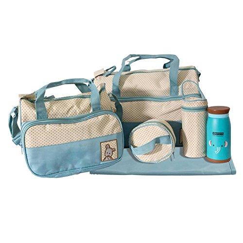 Set Baby Windeltasche und Thermoflasche hellblau / beige 5522