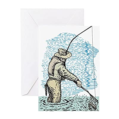CafePress - Fly Fishing Trout - Greeting Card, Note Card, Birthday Card, Blank Inside Matte by CafePress