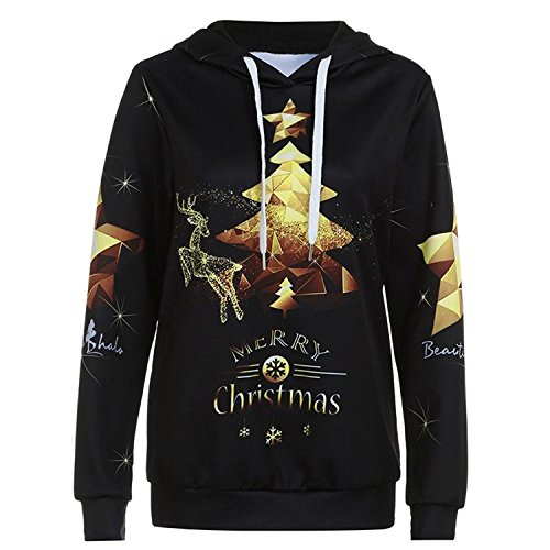 BIGHUB Black , X-Large : Women Merry Christmas Hoodie Jumper Sweatshirt Mingfa Long Sleeve Xmas Tree Digital Printing Pullover Tops Blouse