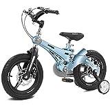 Bicicletas Infantiles 12 14 16in,Unisex Bicicleta BMX Freestyle,Freno de Disco,Material de Aleación de Magnesio,Adecuado para niños de 3 a 6 años,Blue,14in