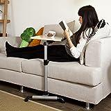 SoBuy® mesa auxiliar con ruedas, mesas de centro, mesas para portatiles, mesitas de noche, FBT07N-W(blanco/L52*P33*A61.5-85cm),ES