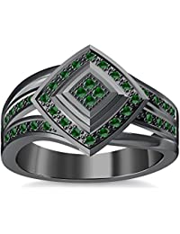 Silvernshine 1.35Ctw Round Cut Green Garnet Sim Diamonds 14K Black Gold Plated Engagement Ring