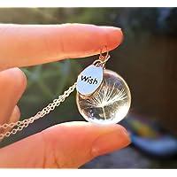 Tarassaco collana pendente argento sterling 925 catena con CONFEZIONE REGALO ciondolo di vetro trasparente argento finissimo fiore gioielli regalo per la madre, la sorella, la figlia o un amico
