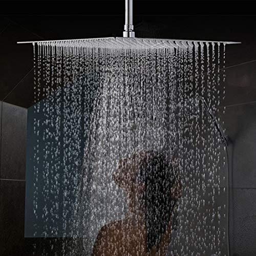 Drenky 16 Zoll / 40cm Quadratischer Einbauduschkopf Duschkopf poliert Spiegeleffekt 304 Edelstahl Duschkopf Kopfbrause Regenbrause mit Anti-Kalk-Düsen Wasserfall Regenduschkopf