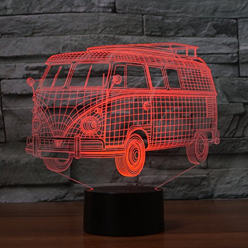 3D Lamp USB Power 7 Colors Amazing Optical Illusion 3D Grow LED Lamp Bus Shapes Kids Bedroom Night Light