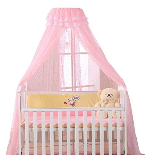 Jiyaru Mosquiteros para bebés Mosquitera para cuna con bolsa para cordón Lace Mosquito Ronda Toldos mosquitero Mosquitera con dosel mosquitero Rosa (Red + Soporte) decorativo